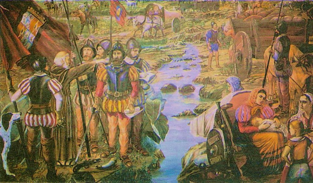 Диего де Монтемайор со свитой. Основание города Монтеррей. Мексика