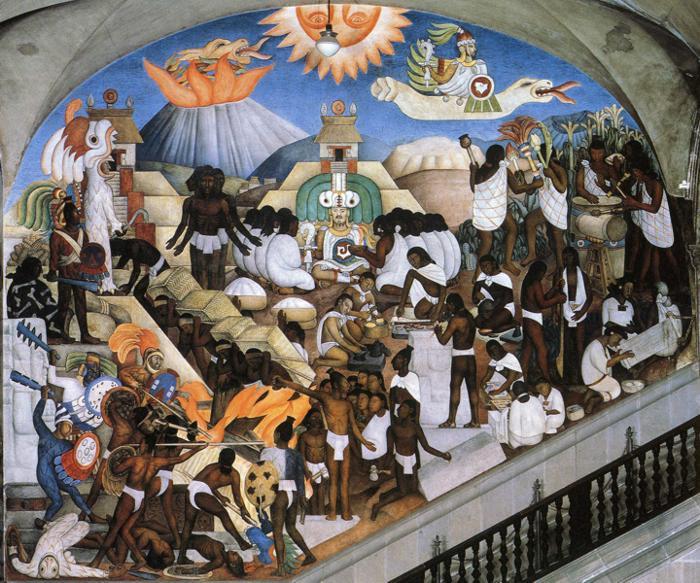 Древний мир индейцев. Картина Диего Ривьера 1929г.