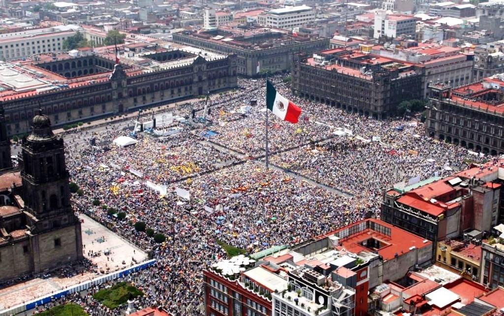 Площадь Конституции в Мехико. Мексика. Сокало в Мехико