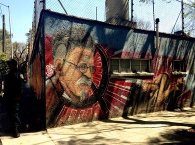 Уличное графити Лв Троцкий, район Койоакан