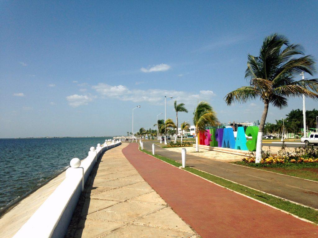 НАбережная Малекон города Кампече, крепость на берегу мексиканского залива