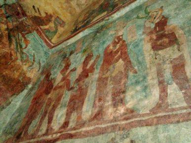 Настенные рисунки сохранившиеся с времен индейцев Майя, пирамиды Бонампак