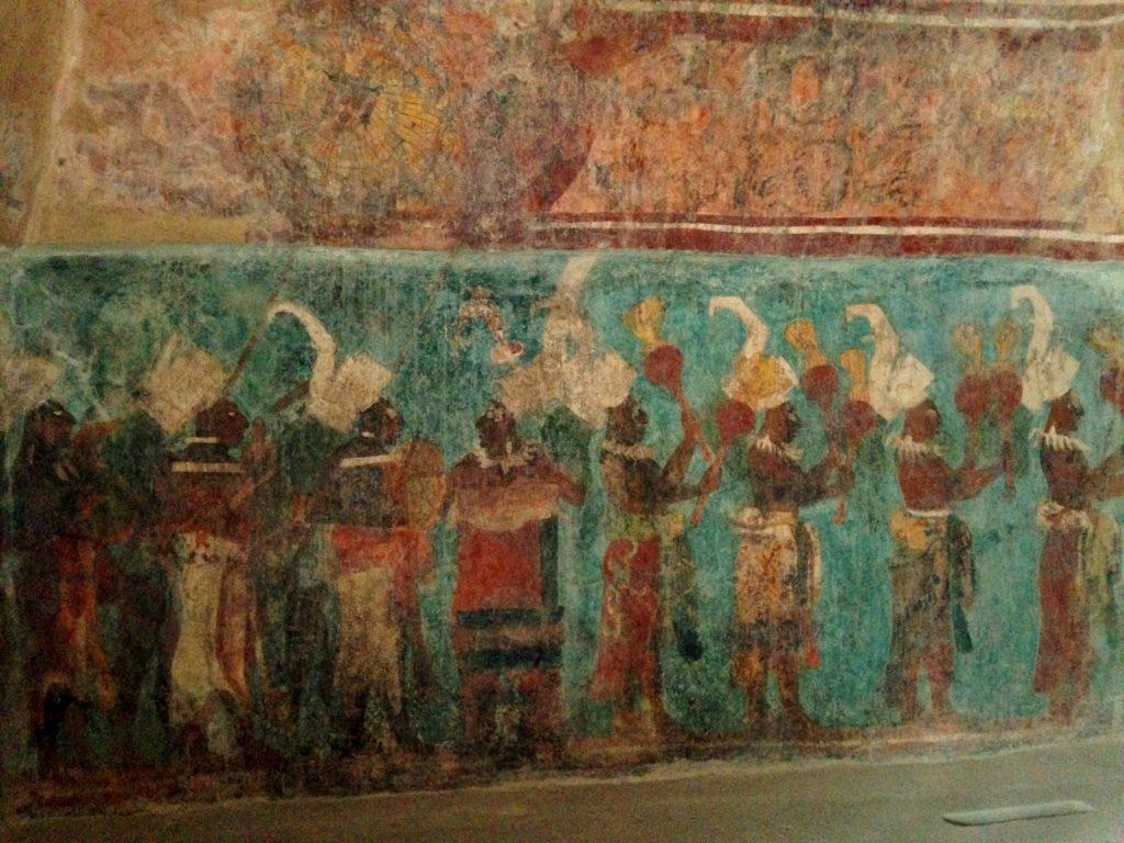 Настенные цветные рисунки Храма Фресок, Акрополь древнего города Бонампак, штат Чиапас
