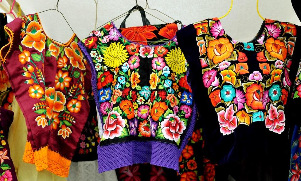 Национальная праздничная кофточка туника Уипиль штата Оахака, Мексика