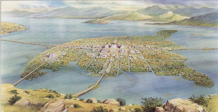 Столица ацтеков Теночтитлан в долине озера Тескоко.