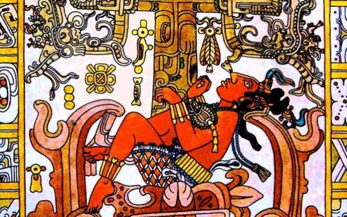 Изображение на саркофаге Пакаля, правителя майя в Паленке, штат Чьяпас.