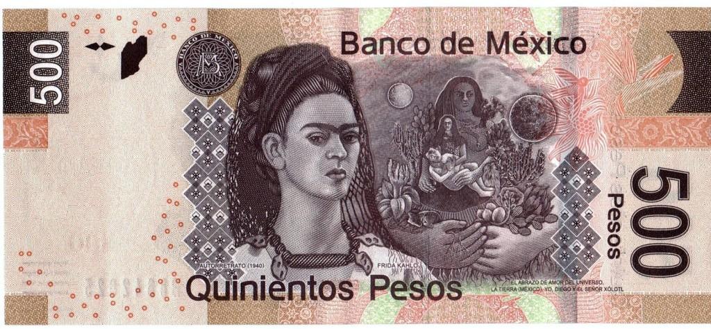 Купюра 500 песо с изображением Художницы Фриды Кало