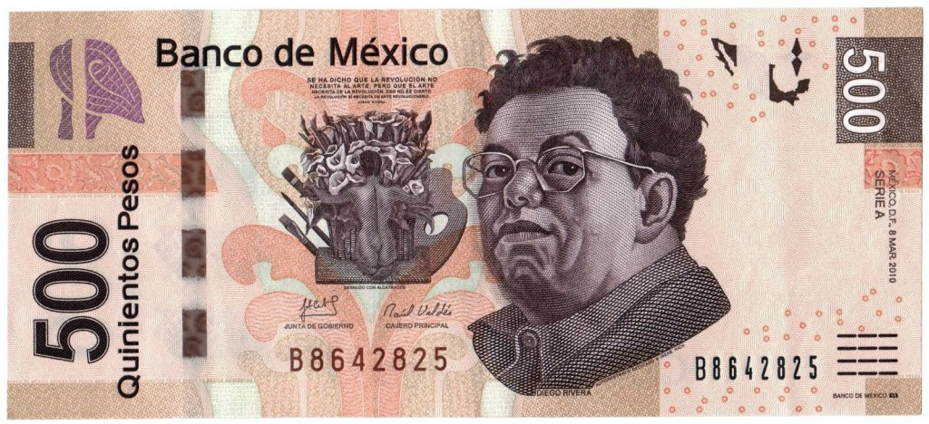 Купюра 500 песо с художником Диего Ривьера