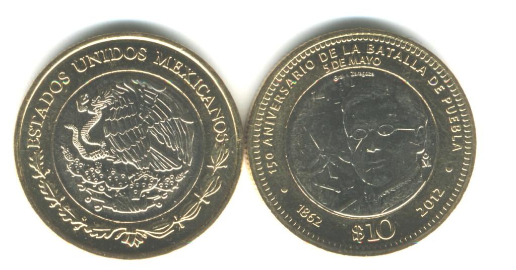 Мексиканские 10 Песо, 2012, Мексика, Битва при Пуэбле