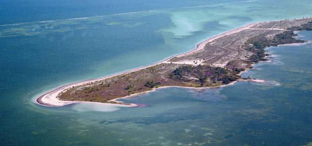 Вид с высоты птичьего полета на остров Хольбош