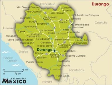 Карта штата Дуранго. Мексика