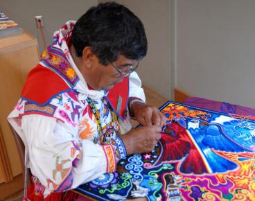 Тканевая картина индейцев Уичоли. Мексика