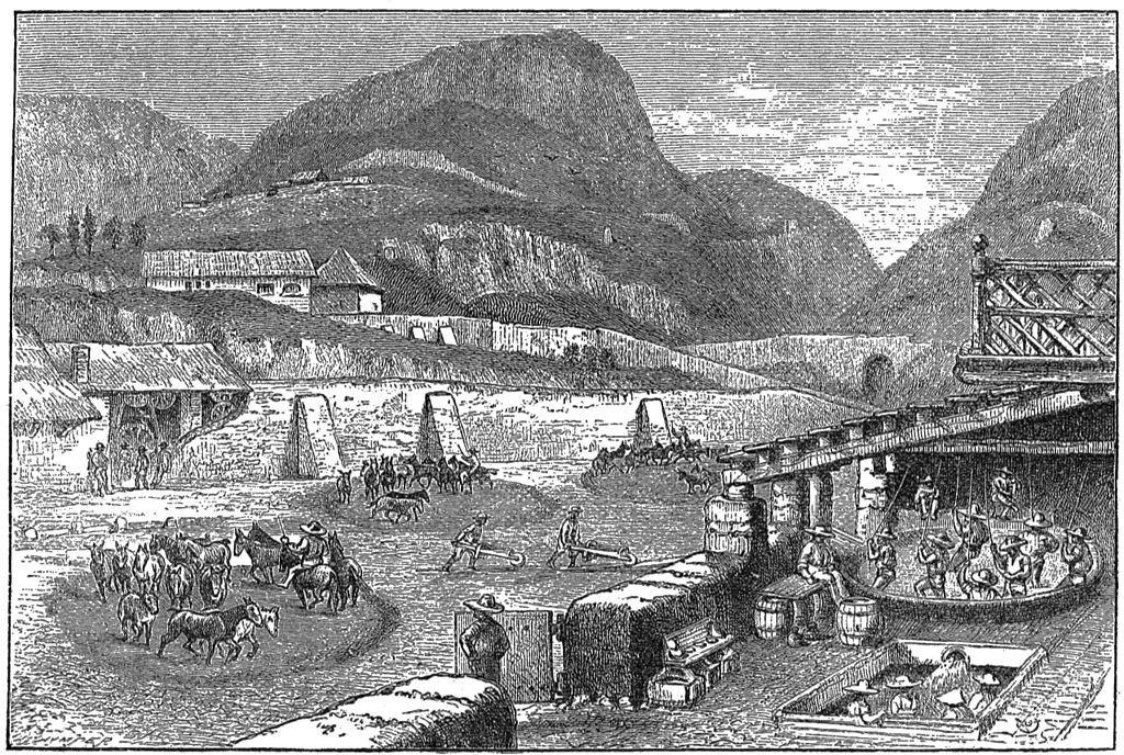 Гравюра Серебрянные шахты в Пачука де Сото. Мексиканское серебро