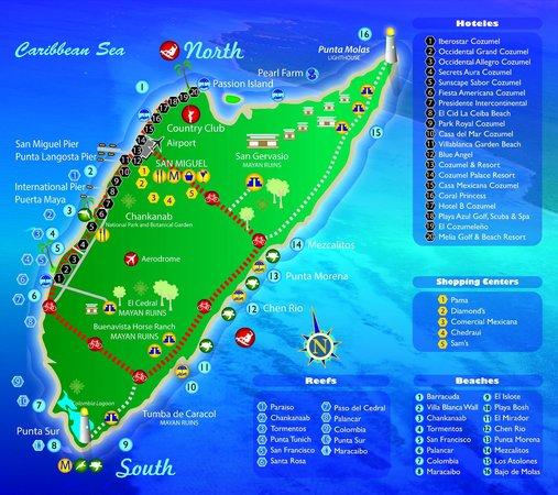 Карта острова Косумель. Отдых на острове, дайвинг и снокерлинг