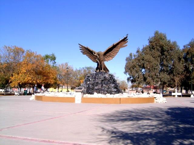 Орел сидящий на угольной руде в городе Пьедрас Неграс, штат Коауила, Мексика