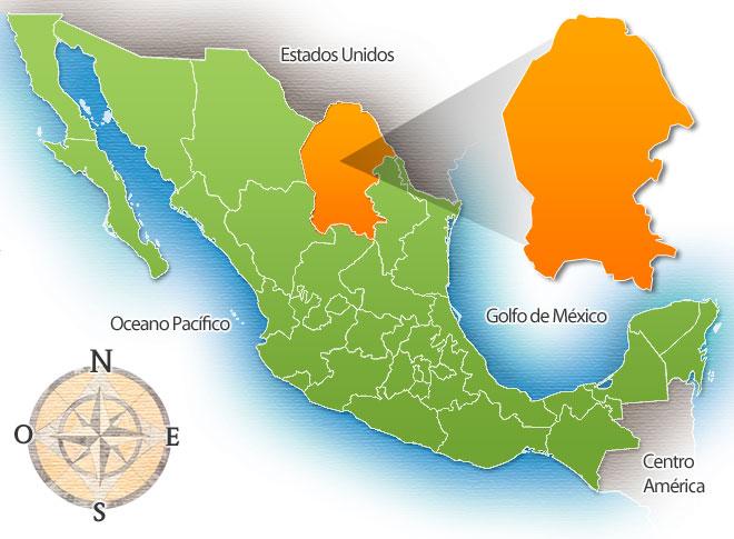 Штат Коауила на карте Мексики
