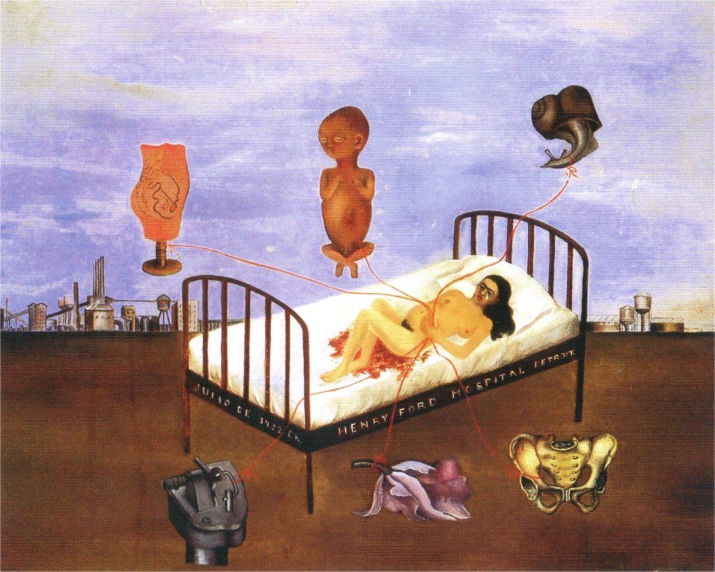 Одна из самых известных картин мексиканской художницы Фриды Кало, Больница Генри Форда.