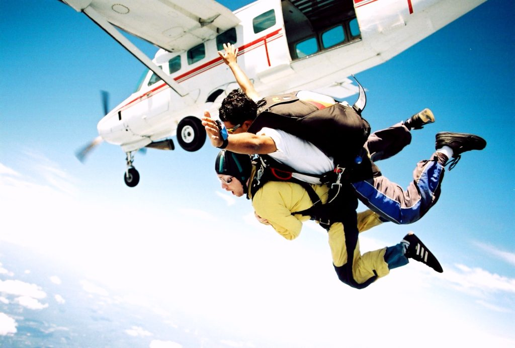 Тандем-прыжок с парашютом над Карибским морем, Ривьера Майя, Мексика