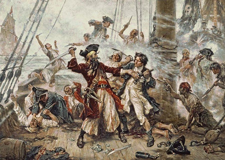пираты захватывают испанский корабль